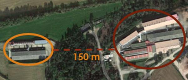 Khu nái và khu cai sữa cách xa nhau ở trại chăn nuôi heo nái được theo dõi