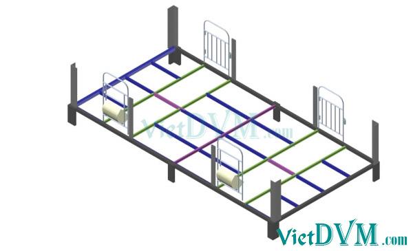 Mô hình 3d chuồng sàn cho heo nái đẻ kiểu có vách ngăn - bước 2