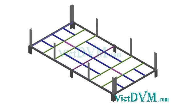 Mô hình 3d chuồng sàn cho heo nái đẻ kiểu có vách ngăn - bước 1