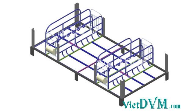Mô hình 3d chuồng sàn cho heo nái đẻ kiểu có vách ngăn - bước 3