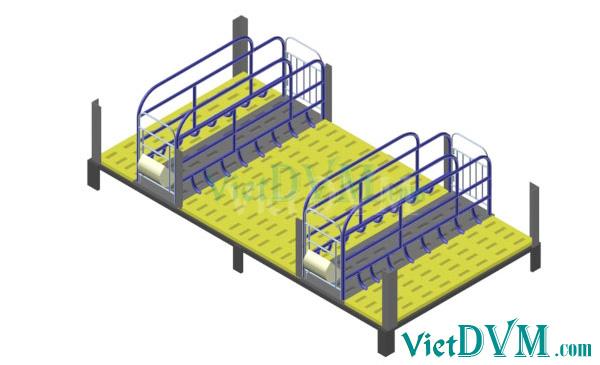 Mô hình 3d chuồng sàn cho heo nái đẻ kiểu có vách ngăn - bước 4