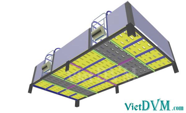 Mô hình 3d chuồng sàn cho heo nái đẻ kiểu có vách ngăn - bước 7
