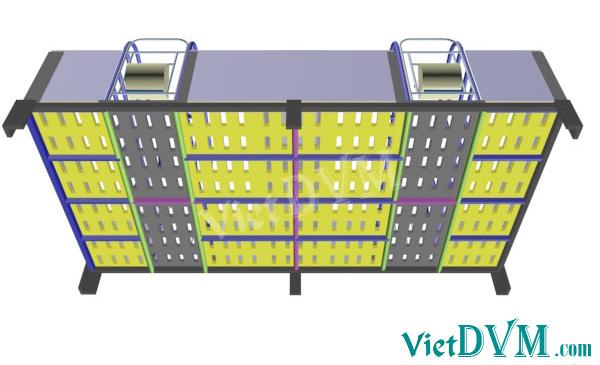 Mô hình 3d chuồng sàn cho heo nái đẻ kiểu có vách ngăn - bước 8